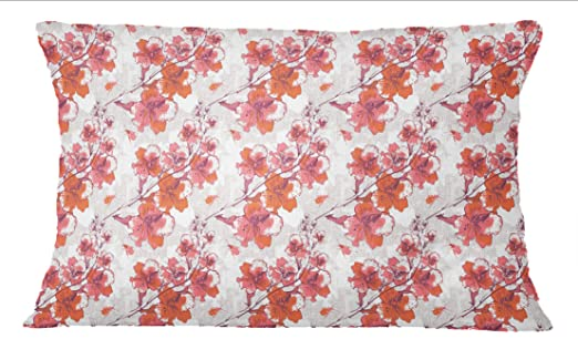 S4Sassy 1 Par Estampado de Flores de Algodon Rojo Cojin de ...