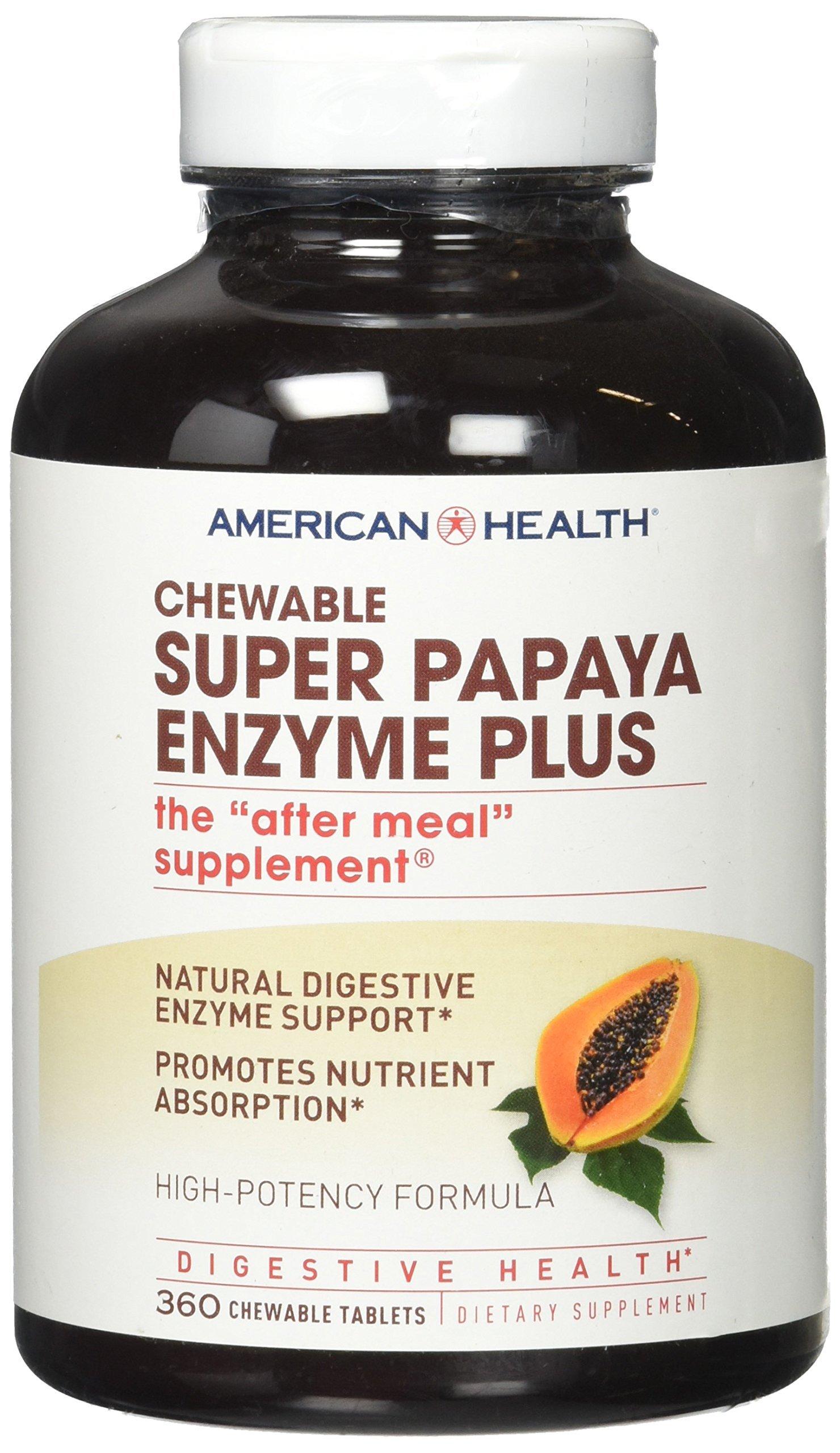American Health Enzymes Chewable Super Papaya Enzyme Plus 360 tablets by American Health