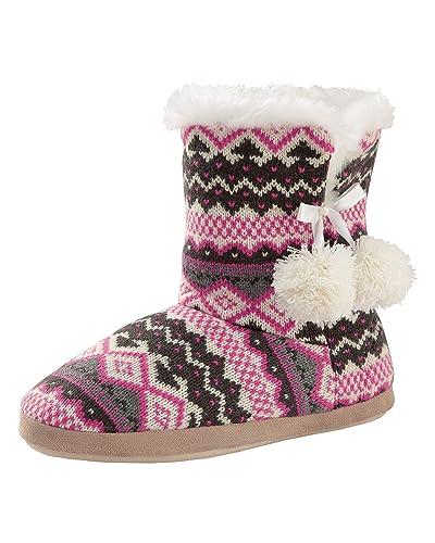 Cotton Traders Womens Ladies Fair Isle Slipper Boots Plush Comfort ...