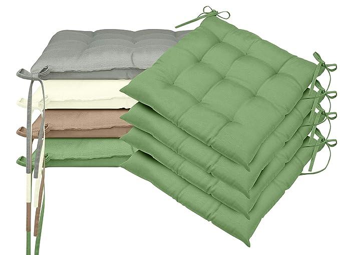 npluseins Doppelpack Stuhlkissen Creme universal verwendbar mit Befestigungsb/ändern in 4 Uni-Farben