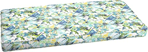 Humble and Haute Perryn Green Blue Floral Indoor Outdoor Bench Corded Cushion 60 in w x 19 in d