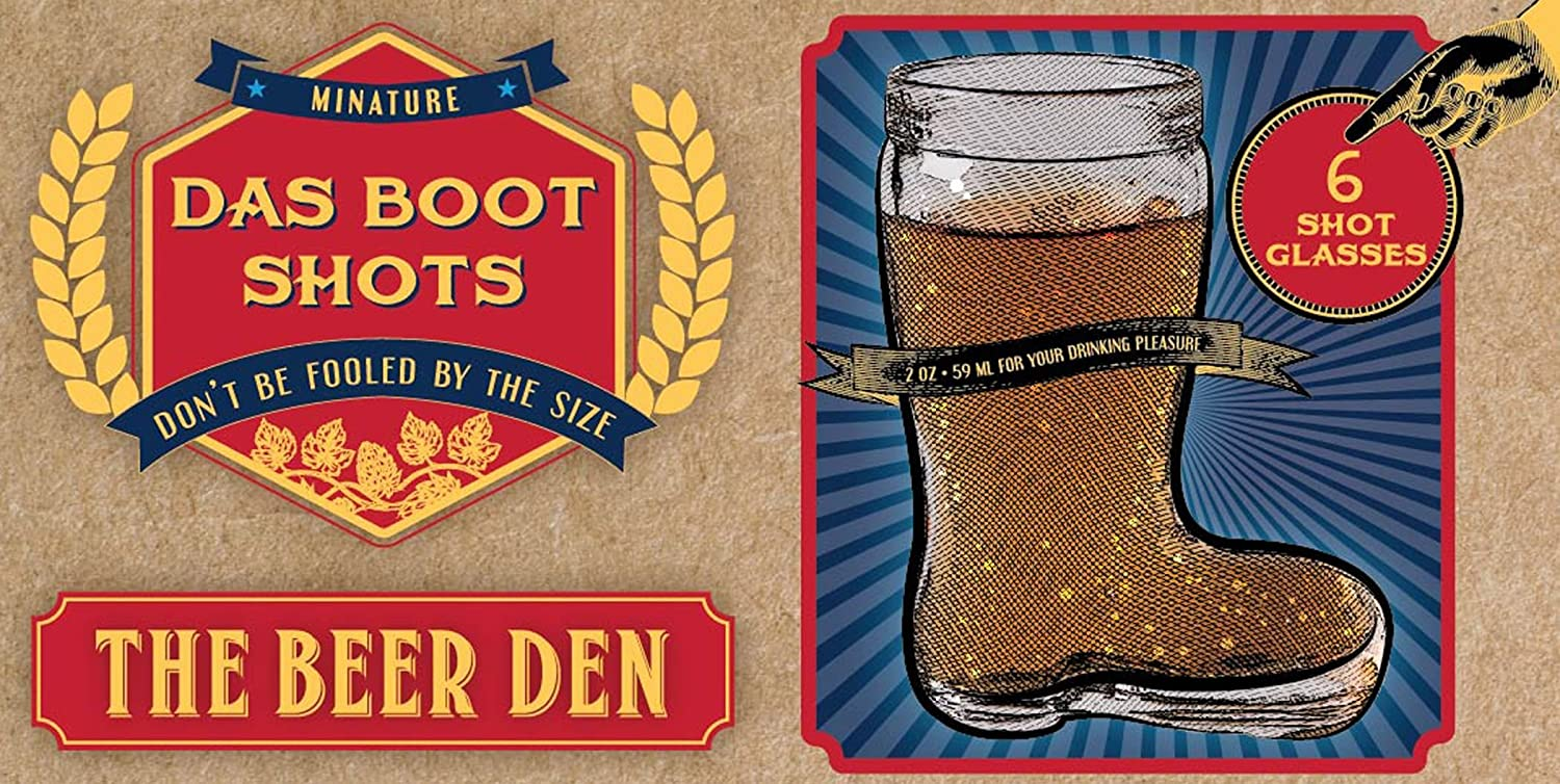 Home Essentials & Beyond Beer Den Set of 6 Beer Boot 2 ounce Shot Glasses Mug Beverage Drinkware For Beer Enthusiasts, At Restaurants And Beer Gardens As Well As Birthday And Bachelor Party Gifts