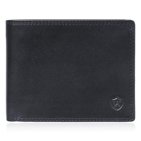 aadc04d8bb9cc VON HEESEN Geldbeutel Männer mit RFID-Schutz Geldbörse Herren Leder Schwarz  Portemonnaie Portmonaise Brieftasche Herrengeldbeutel