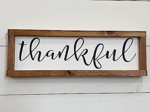 Thankful Thanksgiving Decor Framed Fall Sign Farmhouse Wood Sign Handmade
