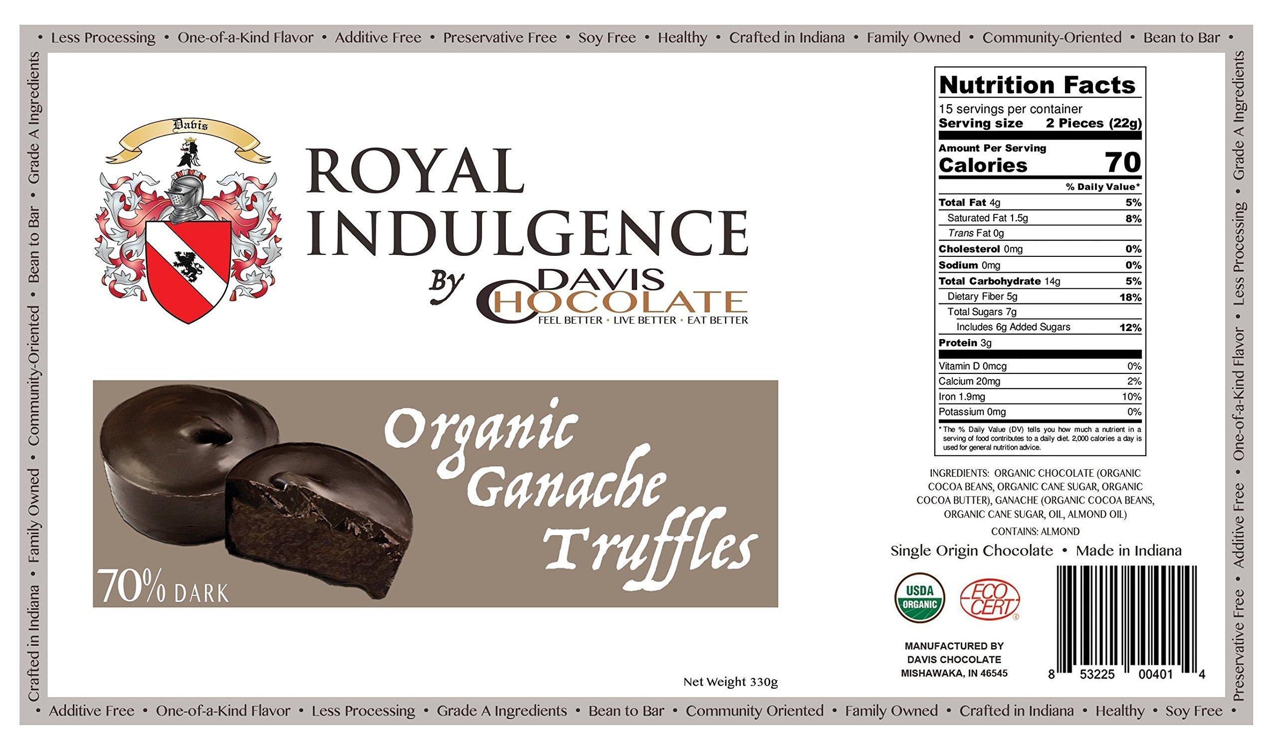 Royal Indulgence 70% DARK CHOCOLATE ORGANIC GANACHE TRUFFLES