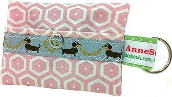 Kackbeutel rosa Sechseck Hundekotbeutel Spender Hundetüte Leckerli Tasche aus Wachstuch Gassi gehen Waste Geschenk Hundebesitzer Poop Bag Chien