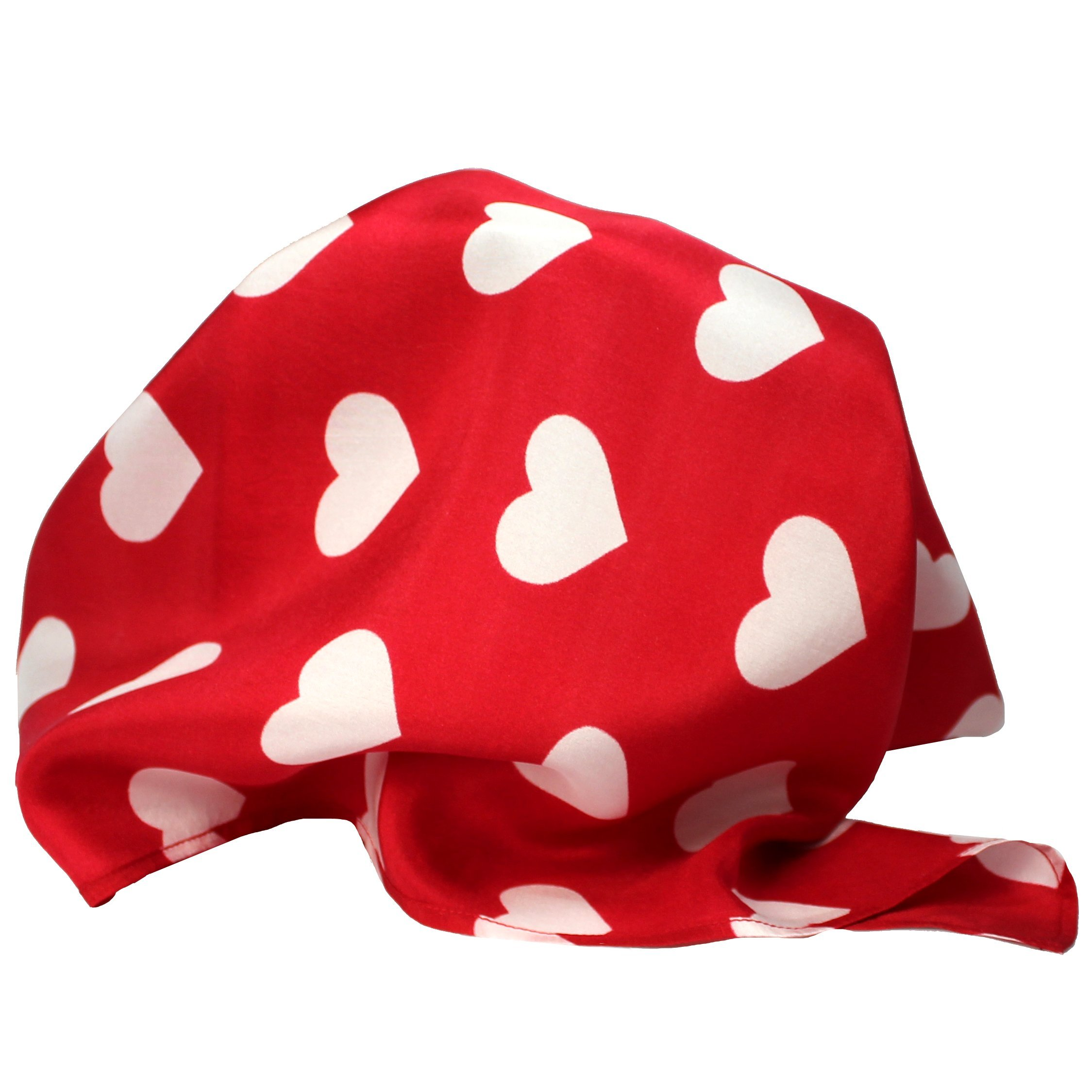 "Red Silk Valentine Pocket Square Handkerchief by Royal Silk – 16"" Sq. Silk Heart Design"
