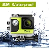 4K Sports Action Camera ,Ultra HD WiFi Camera IP65 up to 30m Waterproof Camcorder 2.0 Inch LCD Screen, with Remote Control, Bike Helmet Camera Underwater Camera DVR Camcorder 1050mAh Batteries(Green)