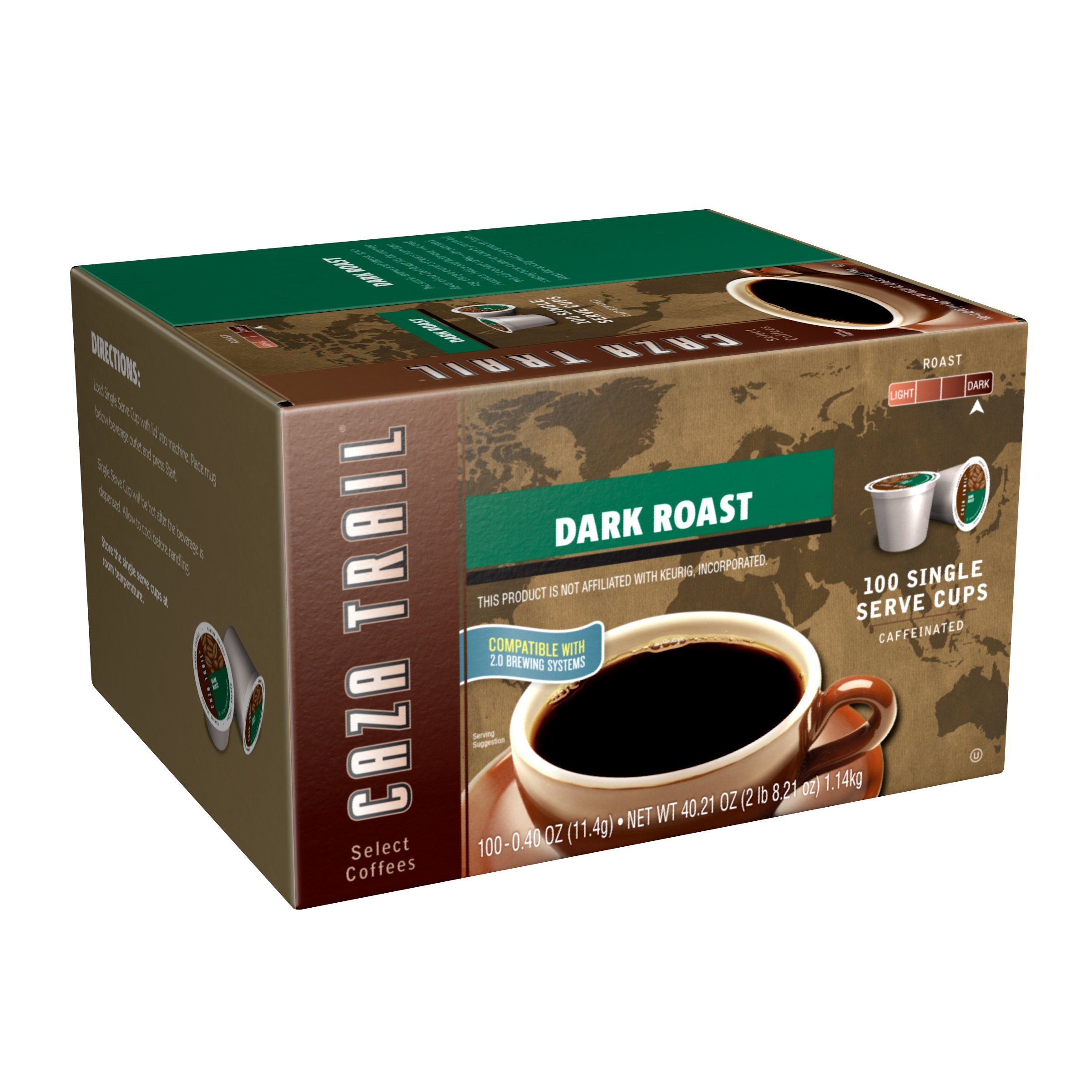 Caza Trail Coffee, Dark Roast, 100 Single Serve Cups by Caza Trail