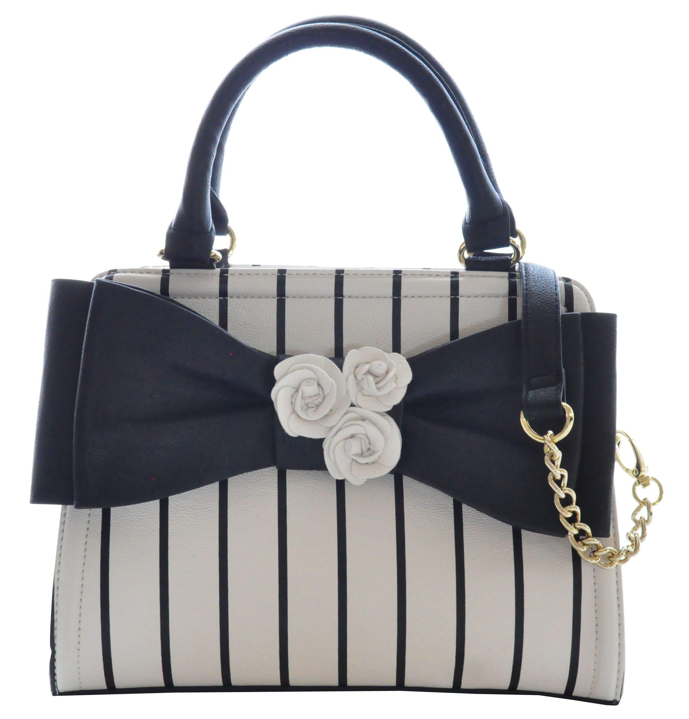 Betsey Johnson Bow Satchel Bag, Stripe