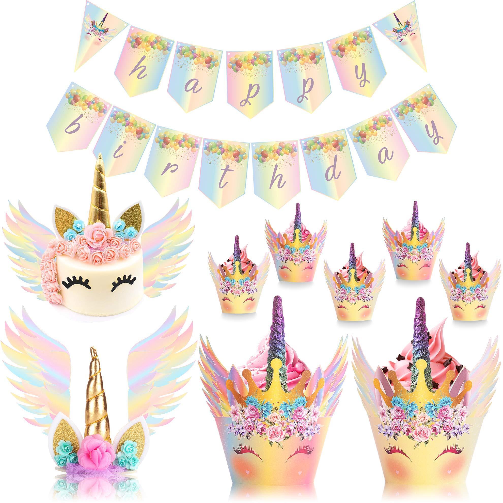 UnicornLifestyle Unicorn Cake Topper with Eyelashes Rainbow  30 Pack  24pcs Unicorn Cupcake Topper, Birthday Banner   Unicorn Cake Wings   Baby Shower, Kids Unicorn Party Supplies, Bridal Wedding by UnicornLifestyle