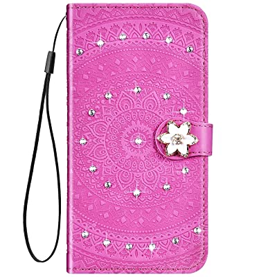 IKASEFU Compatible with Samsung Galaxy A20 Case Glitter mandala Floral Rhinestone Crystal Pu Leather Diamond Bling Wallet Strap Case with Card Holder Magnetic Flip Protective Cover Case,Pink: Musical Instruments