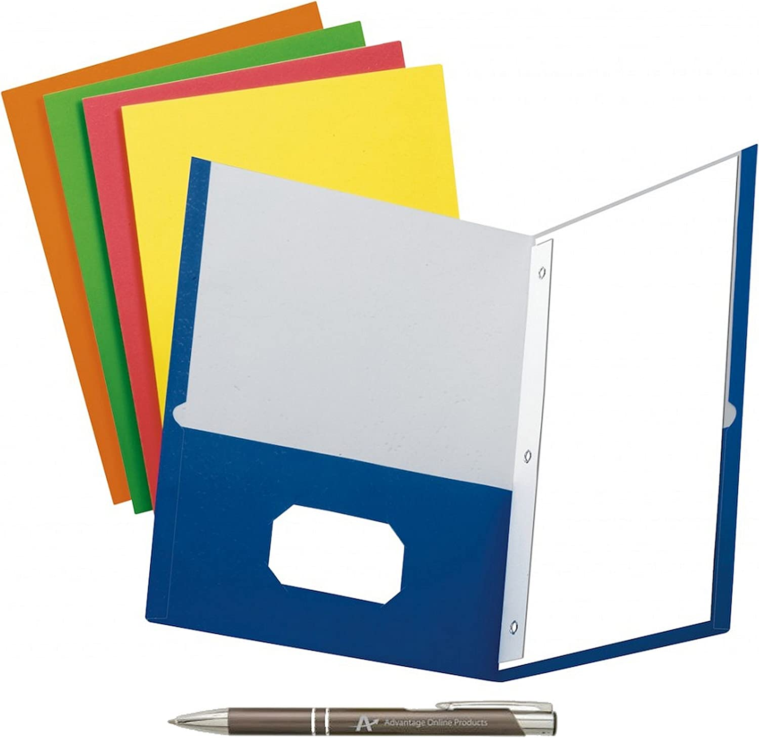 5 Colors and a Bonus AdvantageOP Black and Chrome Retractable Pen. Blue, Green, Purple, Red, Yellow Pack of 5 School Grade Twin Pocket Folders with Prong Fasteners