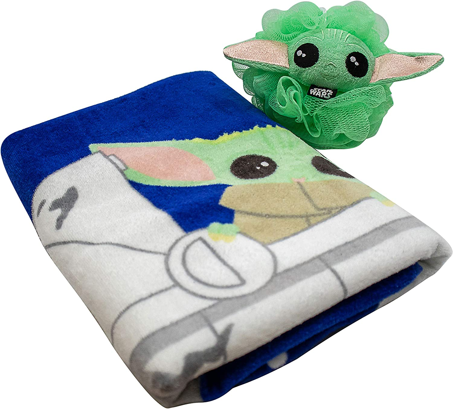 Super Soft /& Absorbent Fade Resistant Cotton Towel Featuring Baby Yoda Official Star Wars Product Jay Franco Star Wars The Mandalorian The Child 2 Piece Bath Towel /& Loofah Set