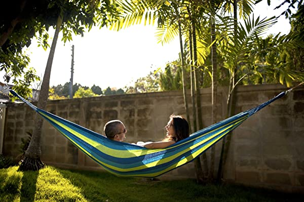 Hammock Sky Brazilian Double Hammock - Two Person Bed for Backyard, Porch, Outdoor and Indoor Use - Soft Woven Cotton Fabric