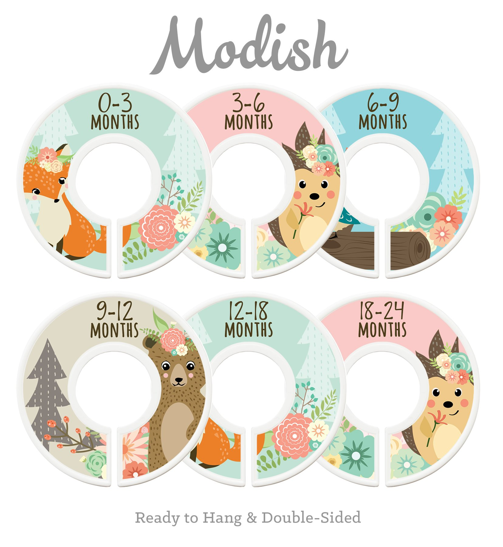 Modish Labels Baby Nursery Closet Dividers, Closet Organizers, Nursery Decor, Baby Girl, Woodland, Fox, Bear, Owl, Hedgehog by Modish Labels