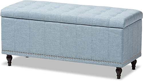 Baxton Studio Sherell Modern Classic Fabric Upholstered Button-tufting Storage Ottoman Bench