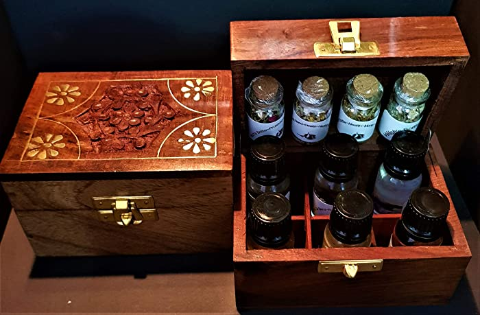 Witches Luxury Altar Kit Wooden Indian Handcrafted Box With Hand