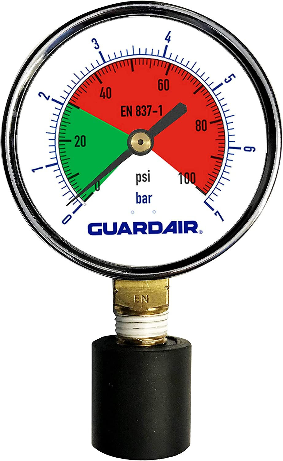 Guardair 100M05A 0-100 PSI Pressure Gauge with Rubber Tip