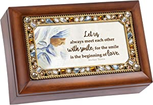Cottage Garden Smile of Love Saint Mother Teresa Wood Finish Petite Jeweled Music Box Plays Amazing Grace