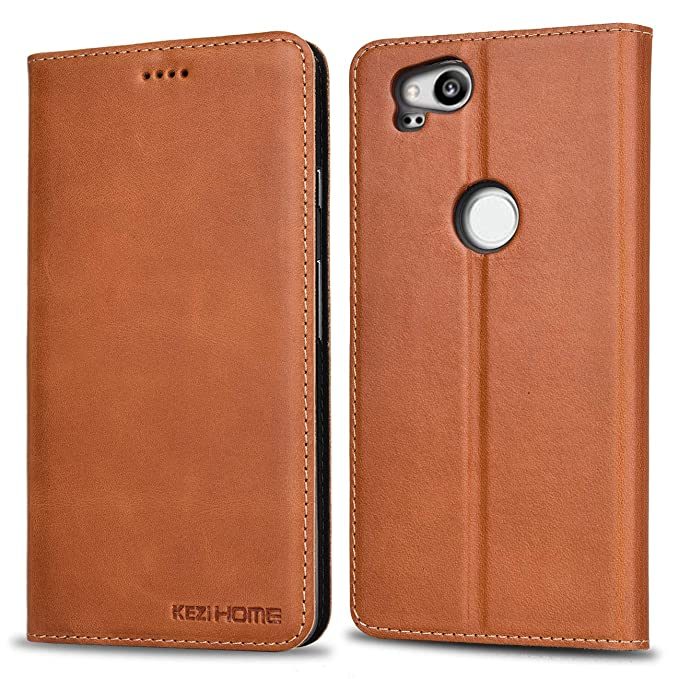 new styles 692be 0a504 Google Pixel 2 Wallet Case, KEZiHOME Genuine Leather Premium Google Pixel 2  Case with Stand Feature and Credit Card Slot Full Protection Case for ...