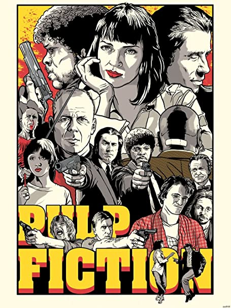 Pulp Fiction Cool Vector Collage Movie Art Printing Wall Poster 24quotx32quotwbp05159