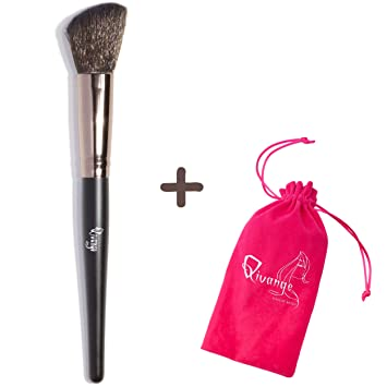 Qivange Makeup Brush, Angled Cosmetic Brush with Synthetic Hair & Wooden Handle(Black with