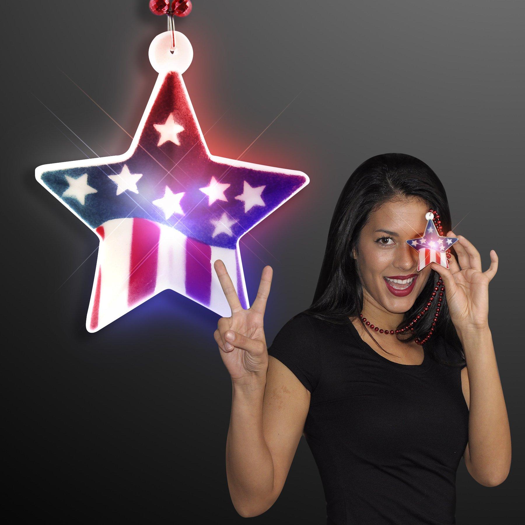 FlashingBlinkyLights Light Up American Flag Star on Mardi Gras Bead Necklace (Set of 12)