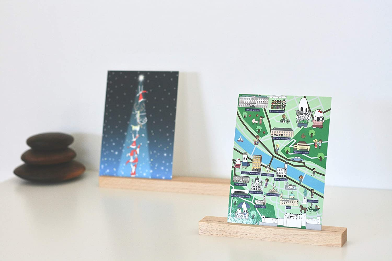 16 cm und 21 cm anaan Track Kartenhalter Holz Fotohalter Moderner Bilderrahmen Platzkarte Tischkartenhalter Namenschild Hochzeit geometrisch Tischdeko 2er Set Buche
