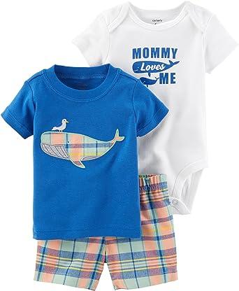2ba14e3d0 Carter's Baby Boys' 3 Piece Whale Bodysuit Top and Plaid Shorts Set 3 Months