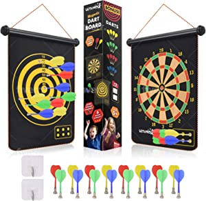 Magnetic Dart Board for Kids, Safe Portable Dart Board Games, Double Sided Kids Dart Board with 16 Darts in 4 Colors, Bonus Self-Sticking Hooks, Indoor and Outdoor Gifts for Teen Boys and Girls 5+