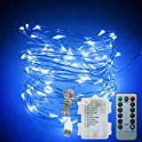 XDlight Blue Christmas Lights, 33 Ft 100 LED Fairy String Lights, USB Battery Operated with Remote Control, 8 Modes Decoration Rope Light for Indoor Outdoor Bedroom Garden.etc