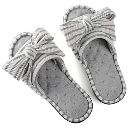 2aaba5d0e450 ULTRAIDEAS Women s Memory Foam Open Toe Slide Slippers with Adjustable  Strap and Cozy Terry Lining