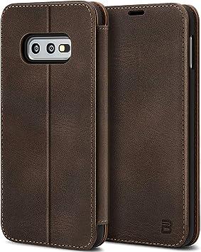 BEZ Coque pour Samsung Galaxy S10e, Etui Pochette en Cuir Véritable, Housse Pochette de Protection en Cuir Véritable, Fermeture magnétique d'étui pour ...