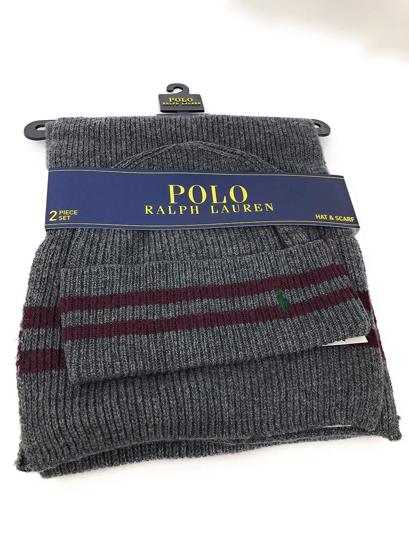 1972d78023ed0 ... sweden amazon polo ralph lauren mens scarf hat set grey clothing 5dd64  76d48