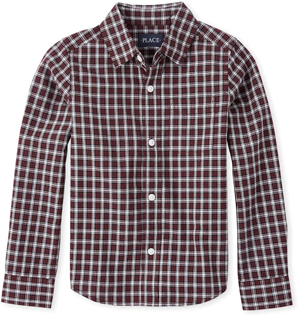 The Childrens Place Boys Big Uniform Solid Long Sleeve Oxford Shirt