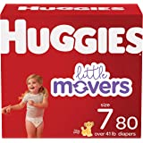 HUGGIES Baby Diapers Size 7 Ct Little Movers, White, 80 Count