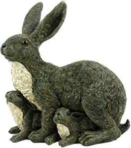 Michael Carr Designs Mama Rabbit and Family Gray Outdoor Rabbit Figurine for Gardens, patios and lawns (80064)