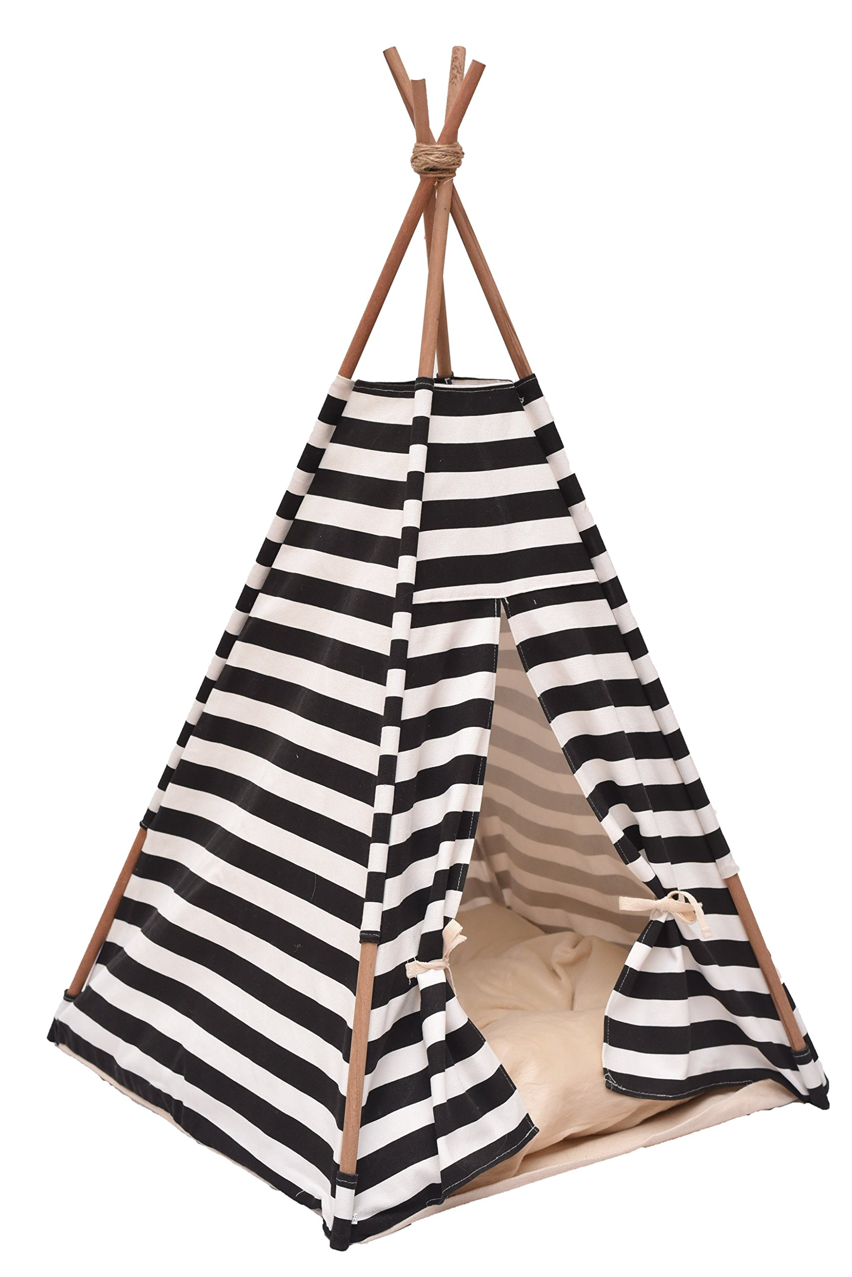Thai Pet Teepee Handmade Size S_38x38x70 cm TP001, Pet teepee, Dog teepee, Cat teepee, Cat bed, Dog bed, Dog tent and Dog house FREE pet toy for all purchase! Pet toy made from 100% cotton and ha
