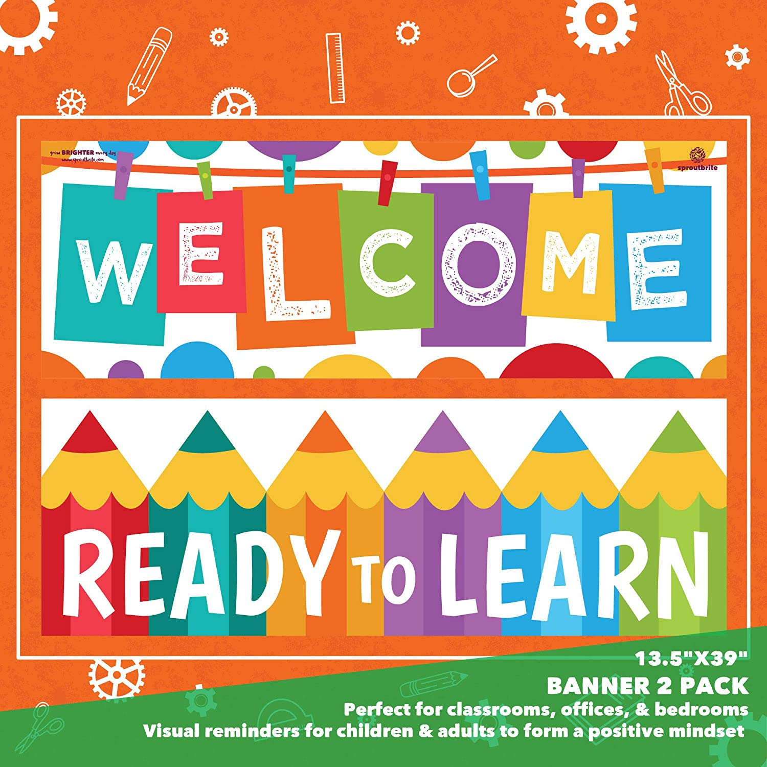 Banner Posters for Teachers Sproutbrite Welcome Classroom Decorations Bulletin Board and Wall Decor for Pre School Elementary and Middle School