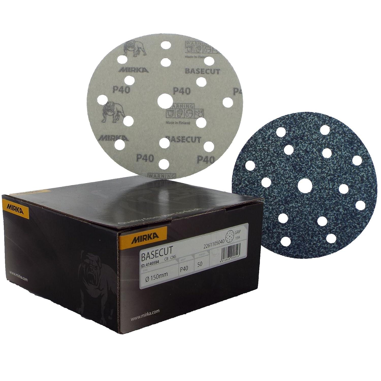 Box 50 6 Abrasive P40 Grit Extra Very Coarse Automotive Refinishing Sandpaper Sanding Discs 15 Hole Vacuum Dust Extraction System Mirka Basecut HookNLoop HookIt 150mm 6 Sanding Discs