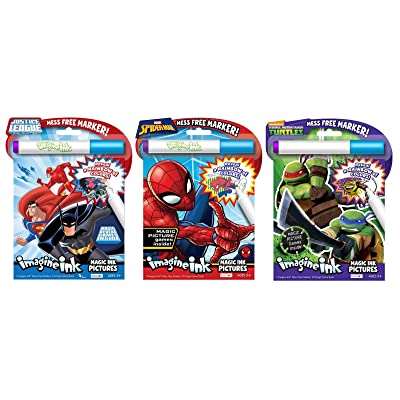 Bundle of 3 Imagine Ink Magic Pictures Activity Books - Justice League, Spider-Man, and Teenage Mutant Ninja Turtles: Toys & Games