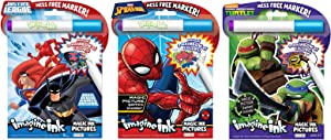Bundle of 3 Imagine Ink Magic Pictures Activity Books - Justice League, Spider-Man, and Teenage Mutant Ninja Turtles