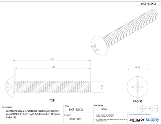 Round Head 1//4-20 UNC Threads Phillips Drive Zinc Plated Finish Meets ASME B18.6.3 1 Length 1//4-20 UNC Threads Fully Threaded Pack of 100 Small Parts Pack of 100 Steel Machine Screw 1 Length