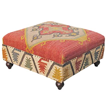 Homescapes tapizado Tipo Otomano Final Mesa o Reposapiés con Patas ...
