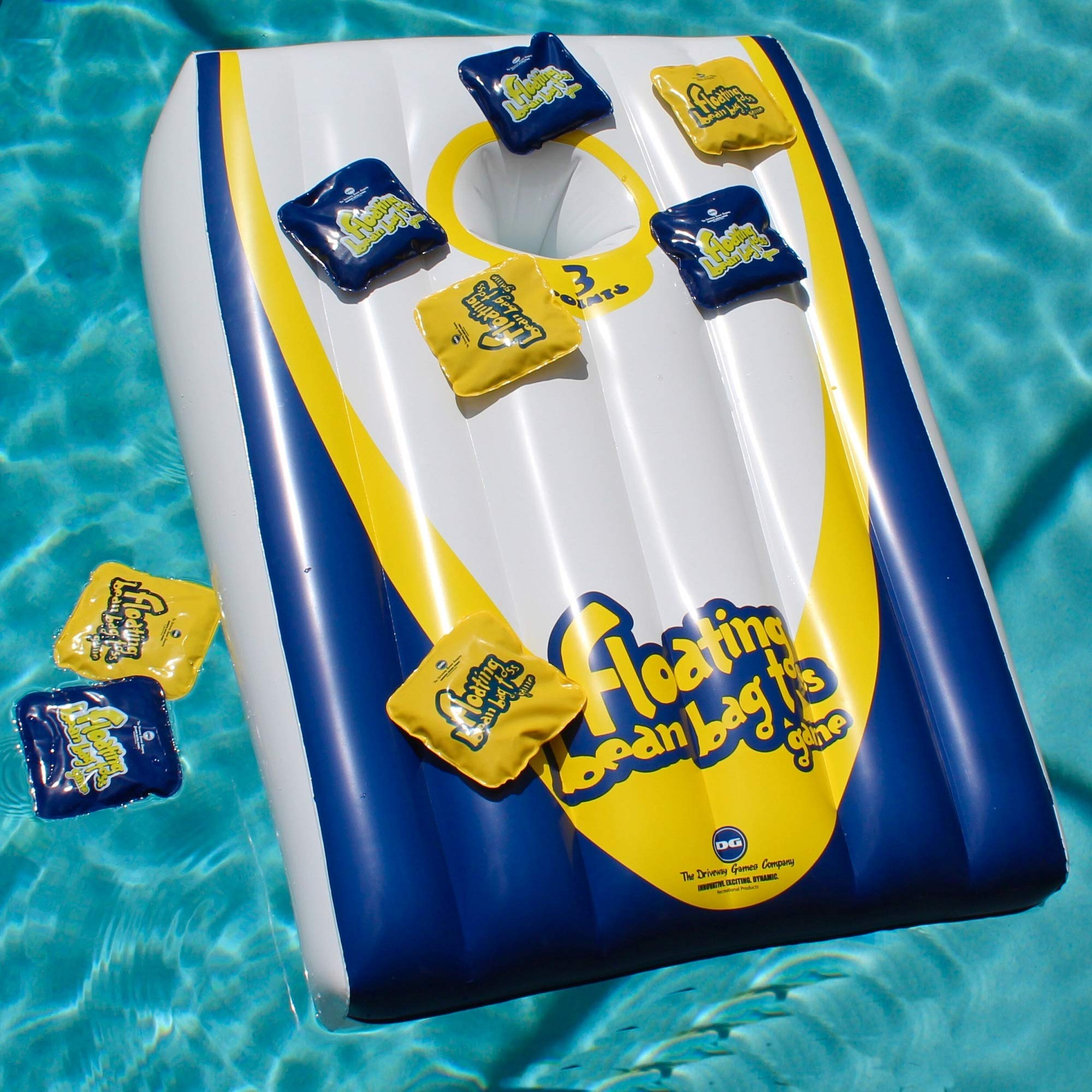Drive Way Games Floating Cornhole Set. Inflatable Corn-Toss Board & Floating Bean Bags for Pool, Lake, Water by Driveway Games