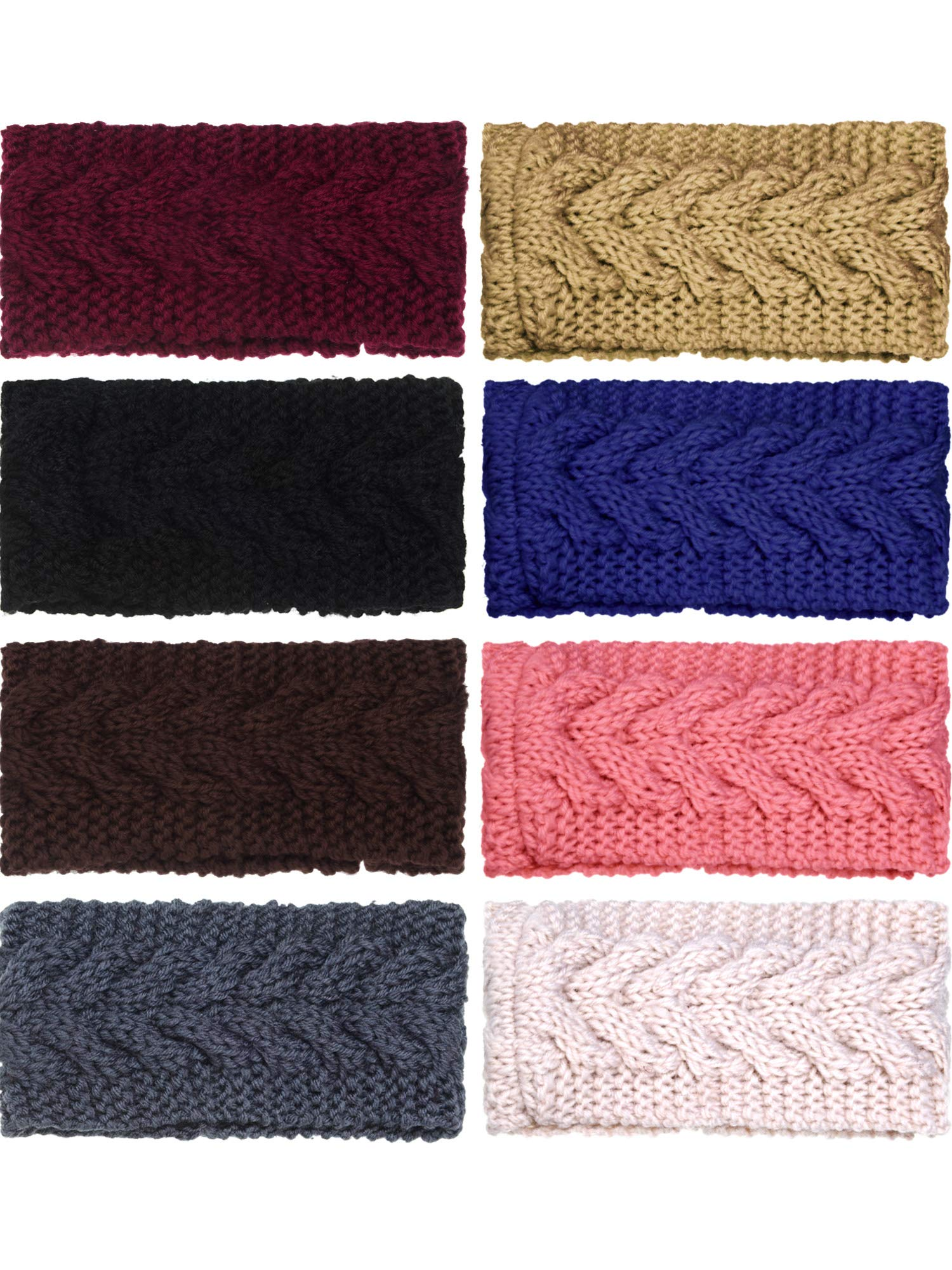 TecUnite 8 Pieces Chunky Knit Headband Crochet Headbands Crochet Braided Hair Band Versatile Winter Ear Warmer for Women Girls