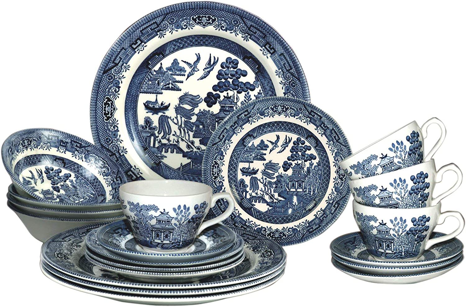 Image of Churchill Blue Willow Plates Bowls Cups 20 Piece Dinnerware Set, Made in England Home and Kitchen