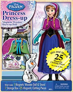 Bendon 06703 Disney Frozen Anna 25-Piece Wooden Magnetic Doll Dress-Up Kit