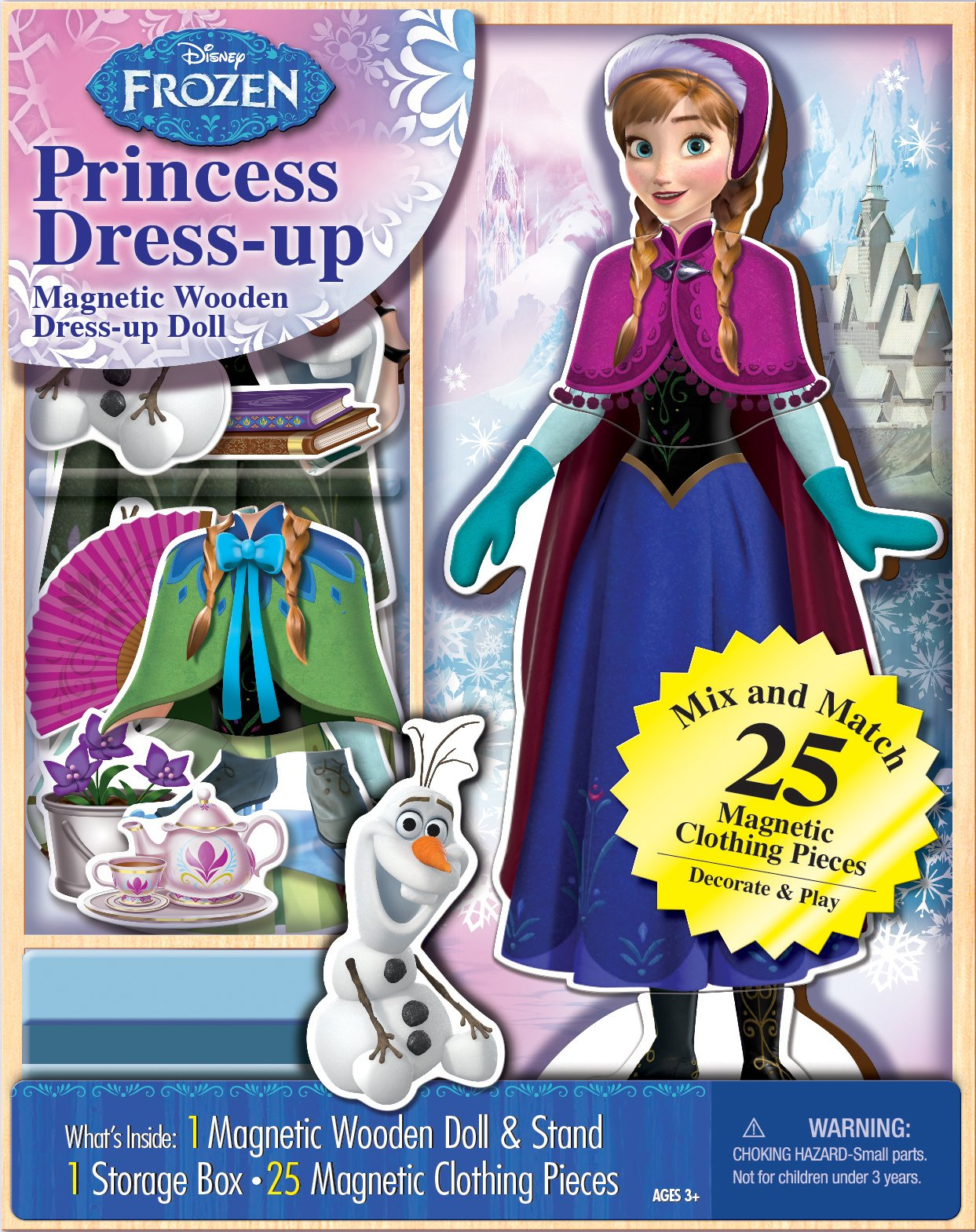 Bendon 06703 Disney Frozen Anna 25-Piece Wooden Magnetic Doll Dress-Up Kit